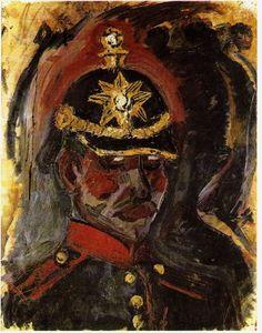 Otto Dix  autoportrait avec casque d'artillerie (1914)