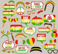 35 Reggae Props Printables, Reggae photo booth props, rasta theme party decor…