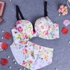 3/4 cup Polyester & Cotton Push Up Bra and Panties Set, different size for choice & breathable & seamless, floral, multi-colored - yyw.com