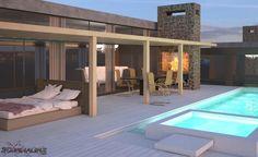 exterior 3d villa render