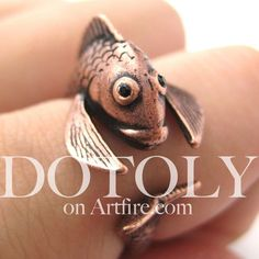 $10 Miniature Fish Animal Wrap Ring in MATTE Copper Size 5 to 9 Available