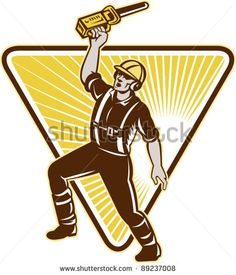 vector Illustration of an arborist,tree surgeon,tree trimmer or pruner raising up chainsaw with one hand with triangle and sunburst in background done in retro style. - stock vector #treetrimmer #retro #illustration