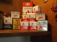 I collect old tin spice cans and display them in my kitchen. Some of the cans are still full of the spices and they still smell good. Smell Good, Kitchen Stuff, Tin, Spices, Display, Canning, Vintage, Floor Space, Spice