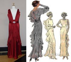1930s Fashion, E30, Evening Gowns, Bodice, Sewing Patterns, Traditional, Formal Dresses, Gallery, Skirts