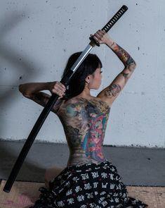 Japanese Sword, Nihon-tou 日本刀 Katana 刀 Sexy Tattoos, Body Art Tattoos, Girl Tattoos, Sleeve Tattoos, Tattoos For Women, Female Samurai, Samurai Art, Full Body Tattoo, Back Tattoo