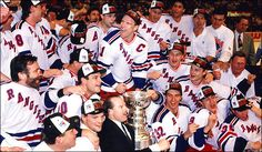 The 1994 New York Rangers Stanley Cup team photo. Messier's finest moment outside of the Oilers, and a pretty soild team in its own right. And, for once, all the players are happy the be around Mike Keenan. Stanley Cup Playoffs, Stanley Cup Champions, Rangers Hockey, Hockey Teams, Football And Basketball, Sports Figures, National Hockey League, New York Rangers, Team Photos