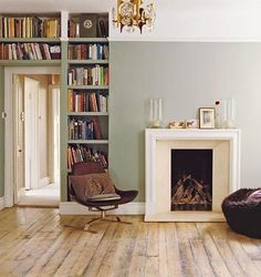 Modern Country Style: Case Study: Farrow and Ball Blue Gray Click through for details. Farrow And Ball Blue Gray, Blue Grey, Ash Grey, Gray Green, Olive Green, My Living Room, Living Spaces, High Ceiling Decorating, Two Tone Walls