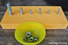 Nuts and Bolts board – tried it! DYS and the child is having fun. Educationally valuable and promotes fine motor skills. Informations About Montessori Nuts and Bolts Board: DIY and Lesson Plans Dementia Activities, Montessori Activities, Motor Activities, Infant Activities, Activities For Kids, Physical Activities, Dinosaur Activities, Montessori Homeschool, Elderly Activities