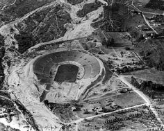 (1922)* - After crowds out-grew Pasadena's Tournament Park, architect Myron Hunt drew up plans for the construction of the Rose Bowl stadium in 1920. On January 1, 1923, USC beat Penn State, 14-3, in the first Rose Bowl game. The stadium was enlarged several times, with the south end completed in 1928.	  Water and Power Associates