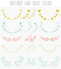 Laurel Branches and Wreath Clip Art - A set of hand drawn laurel branches clip art images perfect for framing text and more. What You Receive: - 81 PNG Images in the blue, red, yellow, and green colors shown. Plus 81 black images! - Images measure about 8 x 8 inches with transparent