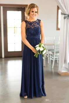 d7cbefe827 Bridesmaid Dresses 2017 New Cheap Country For Weddings Navy Blue Jewel Neck  Lace Appliques Floor Length