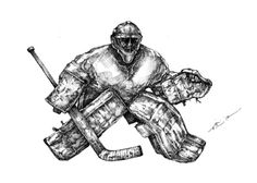 """The Netminder"" 8.5x12 inches. Pen & ink on heavy drawing paper. by @TheArtofAthlete #goalie #art #pen #ink #icehockey"