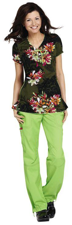 NEW- we love the colors in this Koi Bridgette Serpentine print scrub top.