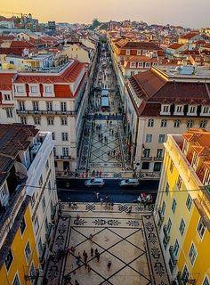 Pedestrian street in Lisbon Portugal. The post Pedestrian street in Lisbon Portugal.