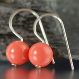 Coral Swarovski pearl earrings