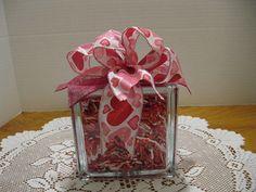 Red Heart Sparkle Glass Block by Originalsbysuej on Etsy, $20.00