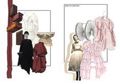 Kirsty Stephenson — Northumbria Fashion Design and Marketing Fashion Illustration Portfolio, Fashion Design Sketchbook, Fashion Sketches, Fashion Design Illustrations, Drawing Fashion, Dress Sketches, Art Illustrations, Design Portfolio Layout, Fashion Portfolio Layout