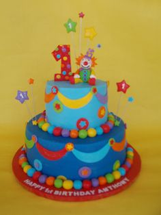 Colorful Clown First Birthday cake Circus Theme Cakes, Carnival Cakes, Themed Cakes, Carnival Costumes, Colorful Birthday Cake, 1st Birthday Cakes, Circus Birthday, Circus Party, Clown Party
