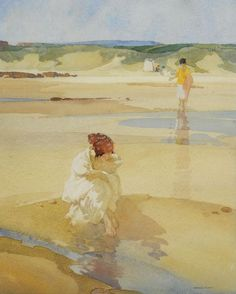 Belinda Sulking ~ Sir William Russell Flint ~  (Scottish 1880-1969)
