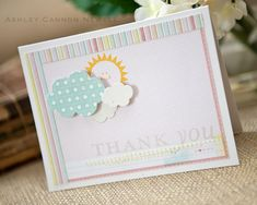 Sun & Clouds Thank You Card by Ashley Cannon Newell for Papertrey Ink (July 2012)