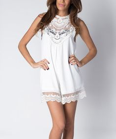 Off-White Lace Yoke Sleeveless Dress