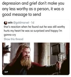 All I was thinking about during that scene is how the other Thor probably lost h… - Marvel Universe Marvel Memes, Marvel Avengers, Marvel Comics, Marvel Funny, Geek House, Dc Movies, The Villain, Stucky, Marvel Cinematic Universe