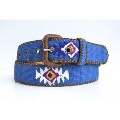 Cinturón Algodón Azul Francia Cinturón fabricado artesanalmente, bordado a mano con hilo de algodón y piel natural. 42€