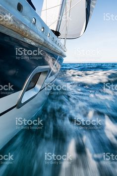 Sailing Boat Leaning, Low Wiewpoint, Motion Blurred royalty-free stock photo