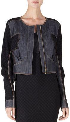 Nina Ricci Denim Tweed Jacket - three-quarter denim three-quarter sleeve crewneck jacket with tweed panel. Available in Denim. Imported. Cotton crewneck jacket with tweed panel. Available in Cotton