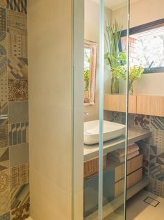 bathroom: look alike cement tiles, Wall tiles azulej by Patricia Urquiola for La Mutina, custom-made cabinet