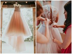 Blush wedding dress | Punch colored, rustic chic summer barn wedding | The Barn at Twin Oaks Ranch | Andrea Clark Photography
