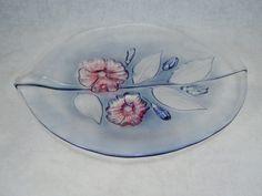 SALE Mikasa Glass Platter/ Tray Leaf Shape by RichardsRarityRealm