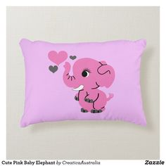 Cute Pink Baby Elephant Decorative Cushion