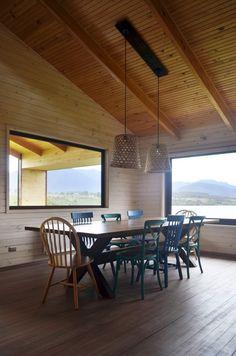 Dos Casas en Lago Ranco,© Carlos Cavagnaro Rammed Earth, Flat Roof, House Front, House Floor Plans, Ideas Para, Dining Table, Flooring, Furniture, Home Decor
