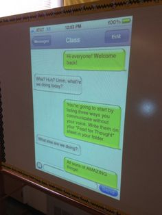 Classroom Ideas: ifaketext. Awesome idea to use in beginning of school to talk about expectations and reflection on right and wrong way to group communicate. Perfect for my 5th graders.