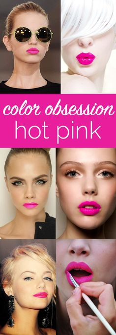 The Best Hot Pink Lipstick For Every Skin Color - My Style Vita - hot pink lipstick inspiration, the best pink lipstick for every skin tone via My Style Vita Le maqu - Pink Lipstick Makeup, Best Pink Lipstick, Bright Pink Lipsticks, Brown Lipstick, Lipstick Colors, Lip Colors, Hot Pink Dresses, Different Shades Of Pink, Fuchsia