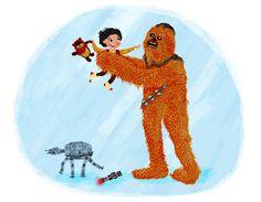 """CHEWIE HOLDING BABY KYLO REN, PLEASE."" | 23 Epic Pieces Of ""Star Wars"" Fan Art You've Been Craving"