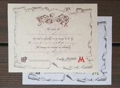 """Marriage Certificate 8""""x10"""" Commemorative Harry Potter Style on Parchment Paper"""
