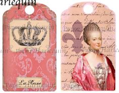 Romantic Marie Antoinette French TAGS Set of 8 Elegant Decoupage, Altered Art, SCRAPBOOK, Journal Cards