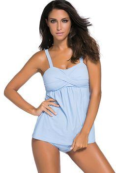 f38a79a987f Two Piece Swing Tankini Swimsuit Light Blue Summer Swimwear