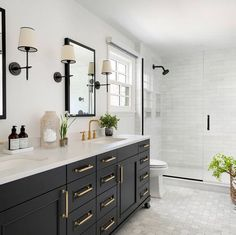 Bathroom Renos, Bathroom Interior, Bathroom Ideas, Downstairs Bathroom, Bathroom Inspo, Bath Ideas, Bathroom Designs, Black Cabinets Bathroom, Black Vanity Bathroom