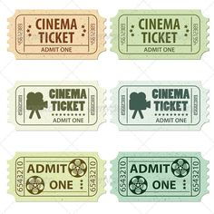 Set Cinema Ticket — Vector EPS #admit #old • Available here → https://graphicriver.net/item/set-cinema-ticket/1528591?ref=pxcr