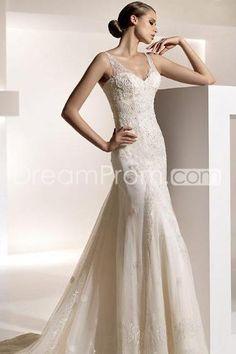Gorgeous Empire Floor-length V-Neck Chapel Organza Wedding Dresses (3AD0163)