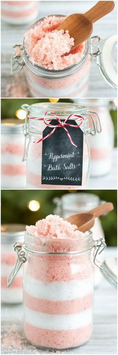 DIY Peppermint Bath Salts. Homemade peppermint bath salts make a wonderful Christmas gift for friends or co-workers.