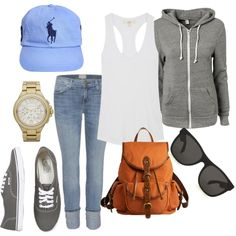 Ralph Lauren hat, ray bans, skinny jeans, tank top with zip up hoodie, vans and orange backpack.