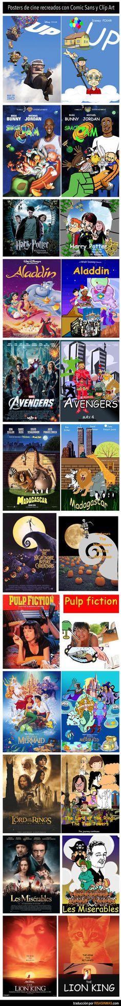 Posters de cine recreados con Comic Sans y clip art.  Haha, I can't stand clip art OR comic sans. Love this!