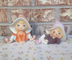 Pair of Incredibly Adorable Vintage HOMECO Pixie / Pixies / Fairies / Gnomes / Elf - Sweet Girls on Etsy, $12.95
