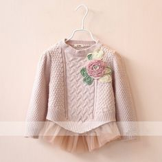 Find More Sweaters Information about children knitted sweater 2015 autumn winter flowers tulle pullover baby girl knitting sweaters beige pink brand children clothes,High Quality clothes cover,China clothes europe Suppliers, Cheap sweater tunic from Happiness Baby on Aliexpress.com