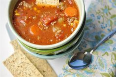HAMBURGER SOUP -  1 lb ground beef, 2 tsp. garlic, 1 C carrots, 1 C celery, 1 C onions, 6 cubes beef bouillon, 6 C water, 15 oz can tomato sauce, 32 oz can diced tomatoes, 1 tsp salt, 10 oz pkg frozen corn kernels or 1 can, 1 tsp dried basil, 4 T ketchup