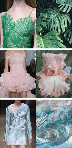 Fashion inspiration design, Textiles fashion, Fashion Mode fashion, Fashion, Fashion art - SideBySide Photos Reveal How HighFashion is Inspired by Nature - Cl Fashion, Fashion Details, Trendy Fashion, Runway Fashion, Fashion Beauty, Autumn Fashion, Vintage Fashion, Fashion Tips, Fashion Trends